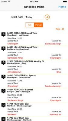 NTES App Cancelled Trains list